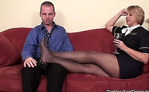 Pantyhose footjob - flight attendants little bl...