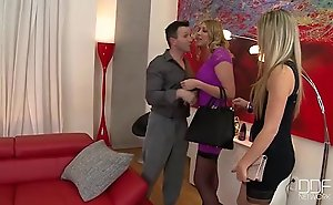 Gorgeous euro starlets in footjob 3some fan...