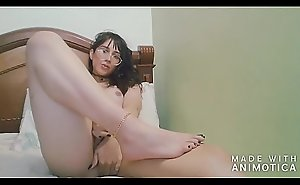 Sweet Colombian shemale jerking off with her feet - Angeles del Mar