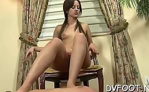 Sexy foot fetisj play with babe fingering while feet licked