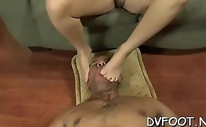Nice chick gets out her sexy feet and grinds dick and balls