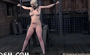 Bounded babe receives a painful and pricky feet worshipping