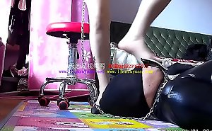 Foot slave lapping mistress'_s high heels and feet