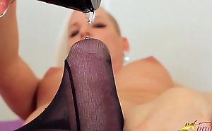 T-Girl Jamie French playing with his cock in pantyhose
