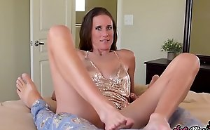 MILF Sofie Marie Jerks Off Stepsons Cock with Her Feet POV